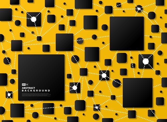 Abstrait dégradé noir géométrique sur fond jaune tech
