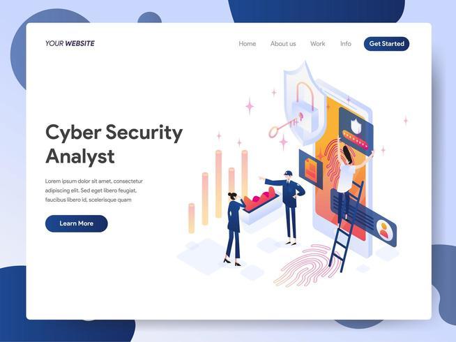 cybersäkerhet analytiker isometrisk illustration koncept