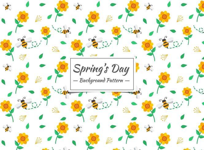 Abeille de printemps et motif de fleurs
