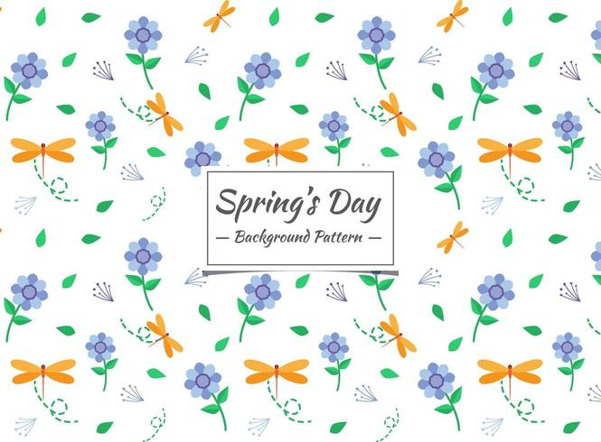 Motif de fleurs et d'insectes de printemps