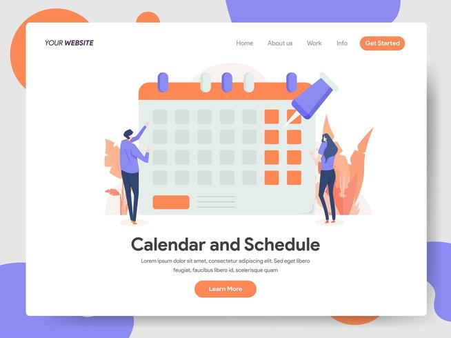 Concepto de ilustración de calendario y horario vector