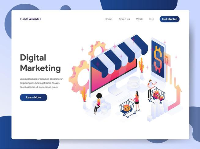 Concept d'illustration isométrique Digital Marketing Analyst