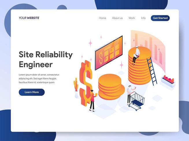 Site Reliability Engineer Isometric Illustration Concept