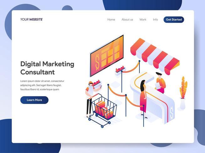 Plantilla de página de aterrizaje del consultor de marketing digital Isometric Illustration Concept. Concepto de diseño moderno de diseño de página web para sitio web y sitio web móvil. Ilustración de vector EPS 10