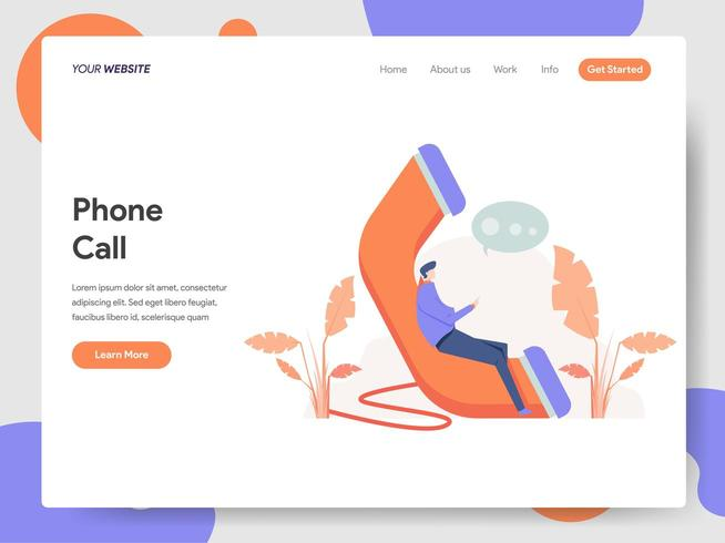 Landing page template of Phone Call Illustration Concept vector