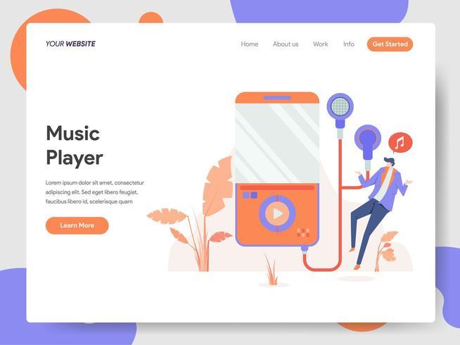 Modèle de page d'atterrissage de Music Player Illustration Concept