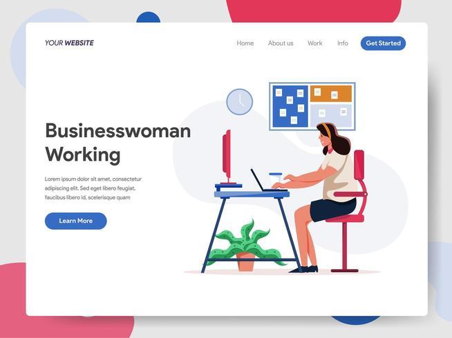 Empresaria que trabaja en el concepto de ilustración de escritorio