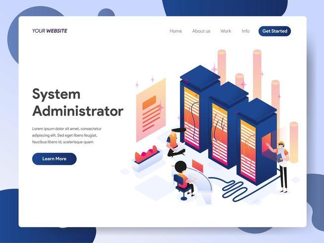 Concept d'illustration isométrique administrateur système vecteur