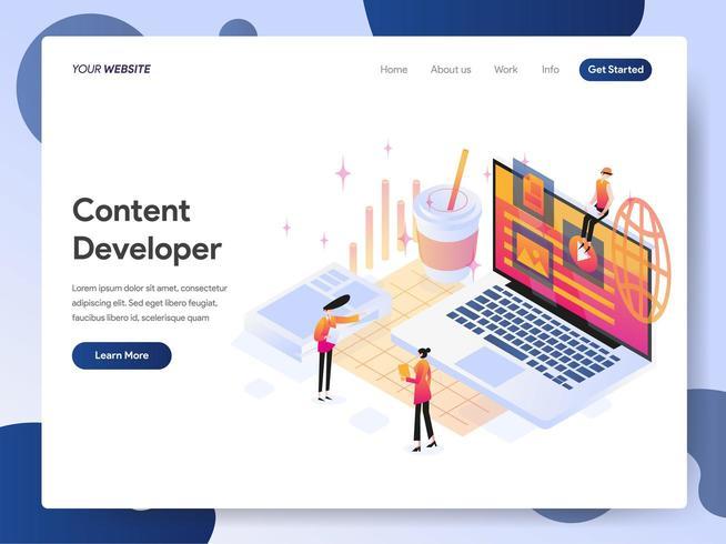 Plantilla de página de destino de Content Developer vector