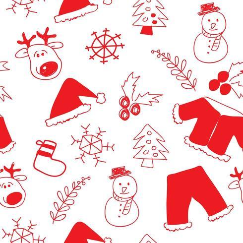 Hand Drawn Christmas Seamless Pattern Background
