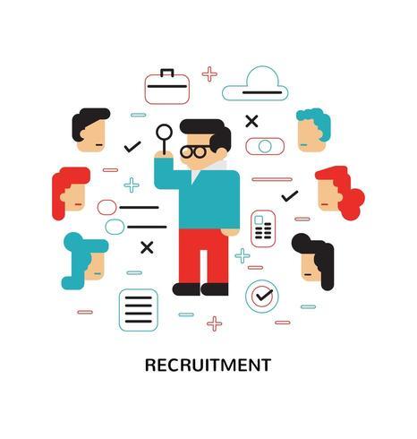 Modern Recruitment, Hiring,  Flat Design Image vector