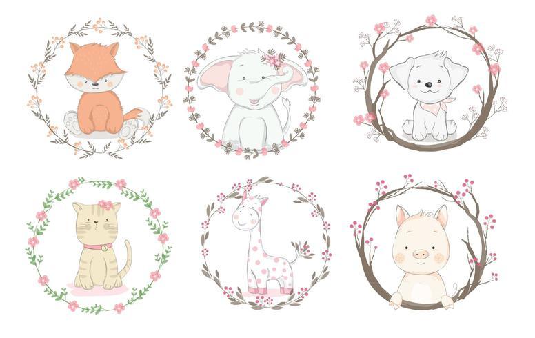 Schattige baby dieren badges in bloemenkaders