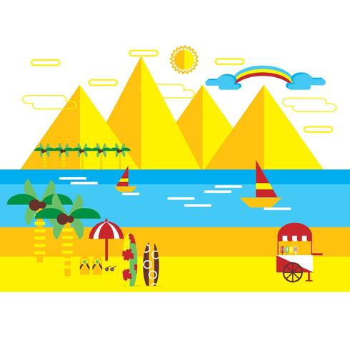 Flat Style Bright Summer Illustration  vector