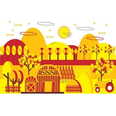 Flat Design Tricolor Autumn Landscape