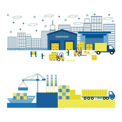 Platt stilillustration av last, port, utrustningssändning