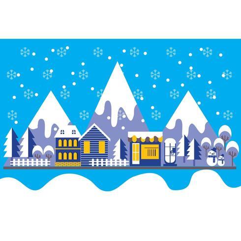 Fond de paysage ville style hiver