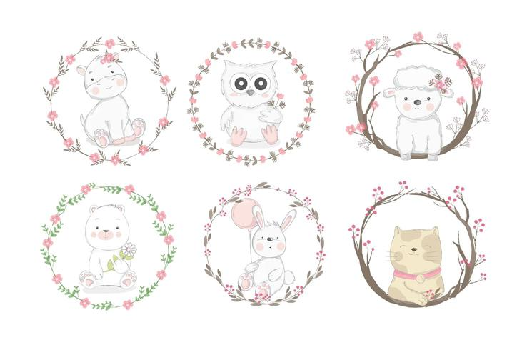 Baby Animals in Floral Frames
