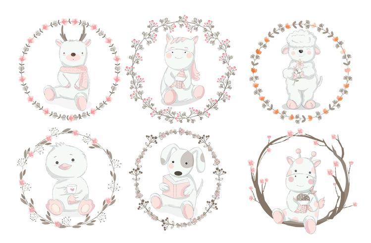 Ensemble de bébés animaux avec des bordures florales