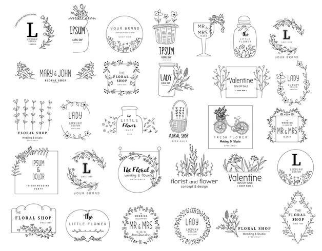 Set di modelli di logo floreale