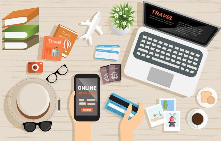 Vue de dessus du concept de paiement bancaire en ligne