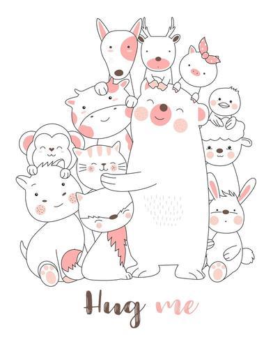 Hug Me Baby Animals Hand Drawn Printing Card