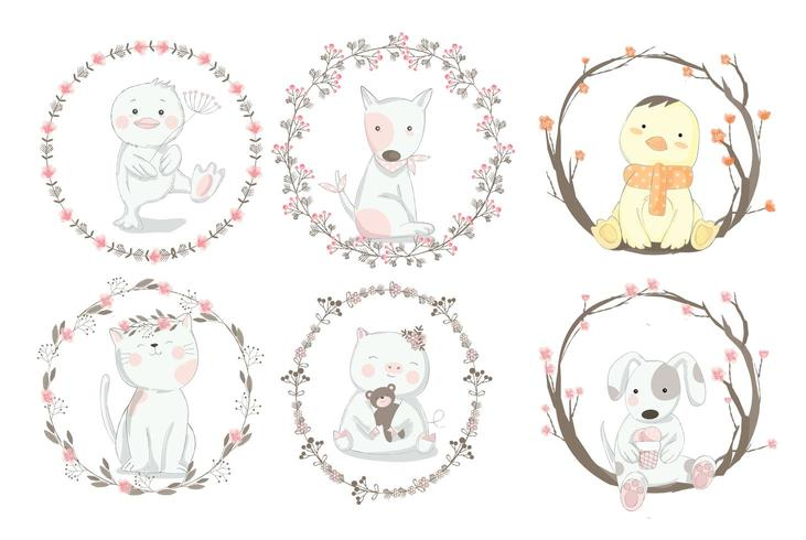 Animales lindos del bebé en marco floral