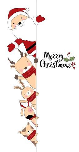 Joyeux Noël animaux mignons dessinés à la main carte Design