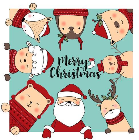 Leuke dieren Merry Christmas wenskaart