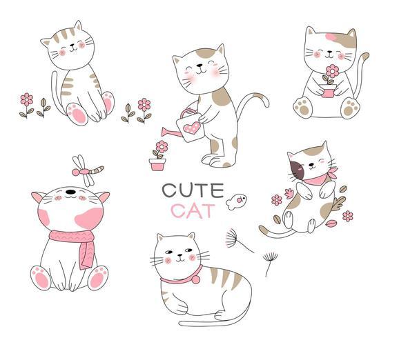 Set van schattige gelukkig katten in Hand getrokken stijl