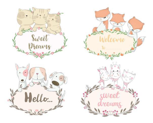 Set di cuccioli di animali con saluti in bordi floreali