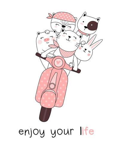 Profitez de votre vie les animaux sur la carte dessinée à la main moto
