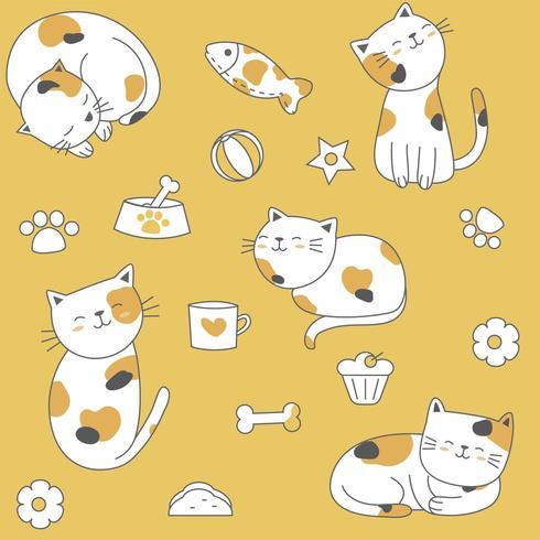 Modèle sans couture mignon chat multicolore