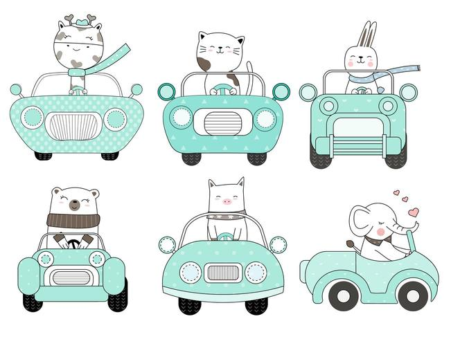 Cute Animals in Blue Car Hand Drawn Set vector