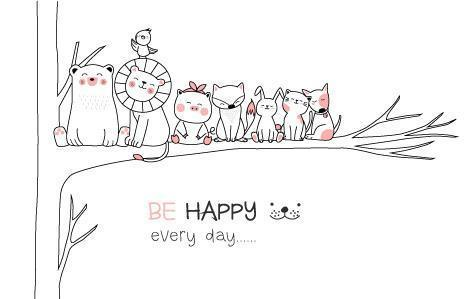 Be Happy Every Day Hand Drawn Card