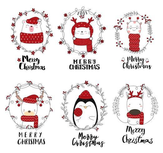 Animali svegli di buon Natale in cornici festive
