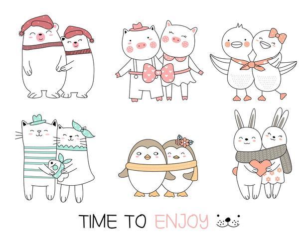 Cute Animal Best Friends Ensemble dessiné à la main