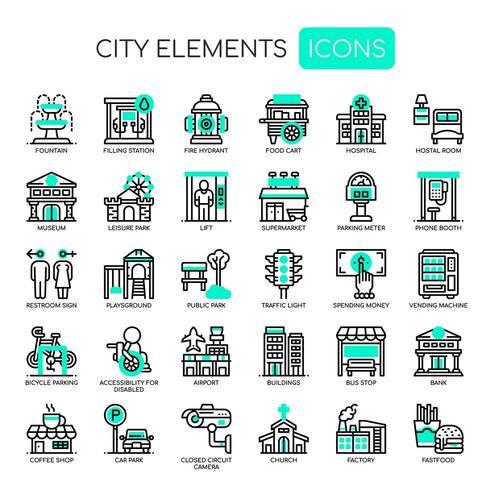 Ensemble d'icônes d'éléments de ville mince ligne verte monochrome
