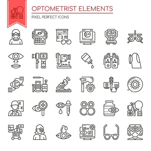 Set of Thin Line Black and White Optometrist Icons  vector