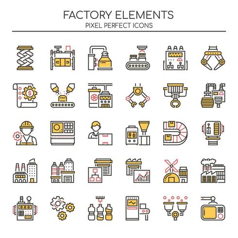 Set di icone di fabbrica di linea sottile di due tonalità