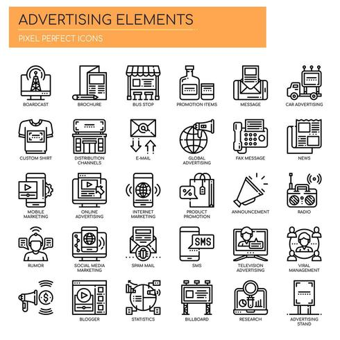 Set of Thin Line Black and White Advertising Elements  vector