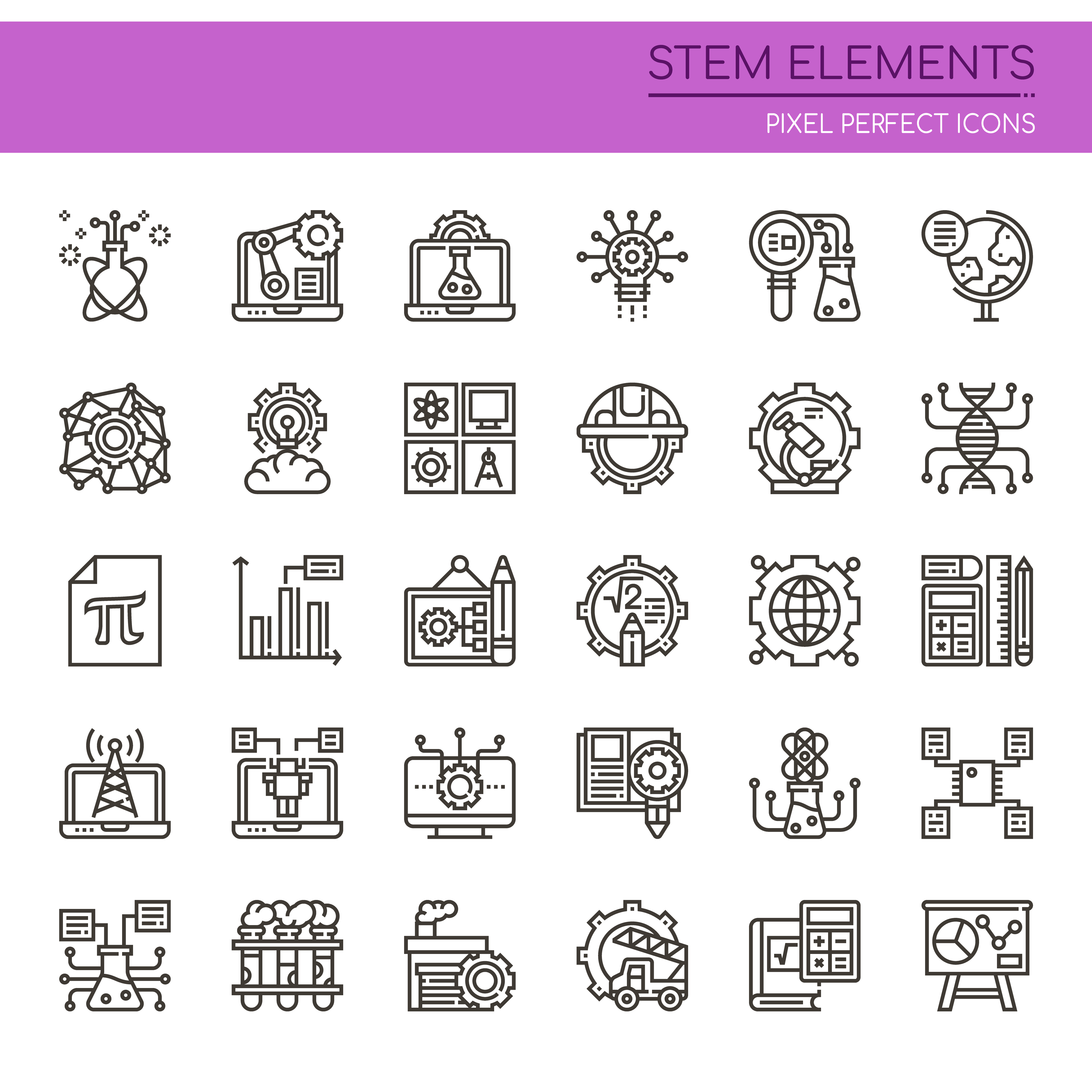 Set Of Black And White Thin Line Stem Elements Download Free Vectors Clipart Graphics Vector Art