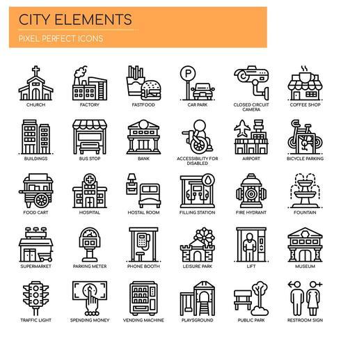 Conjunto de ícones de elementos de cidade fina linha preto e branco