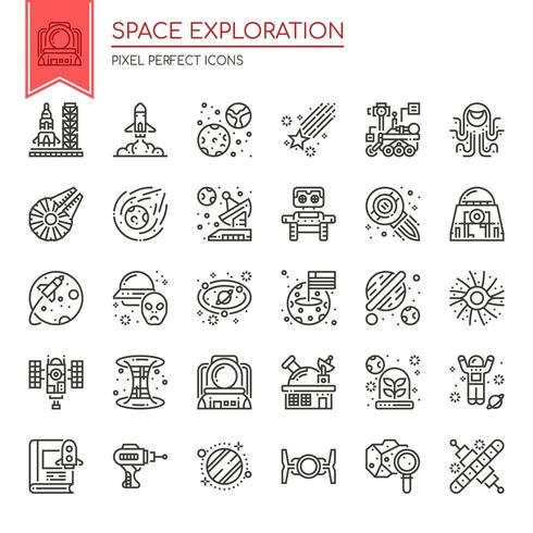 Set of space exploration thin line and pixel perfect icons for any web and app project.  vector