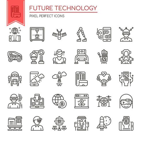 Set of Black and White Thin Line Future Technology Icons  vector