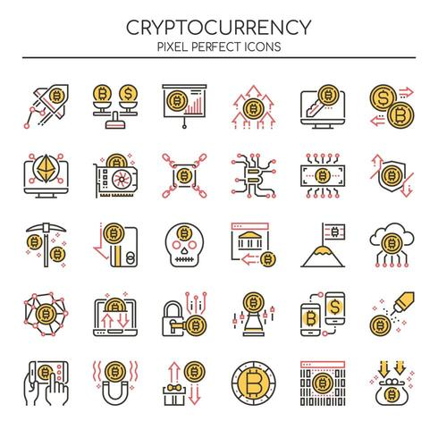 Set of Thin Line Duotone Cryptocurrency Icons