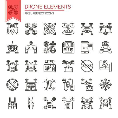 Set of Thin Line Black and White Drone Elements
