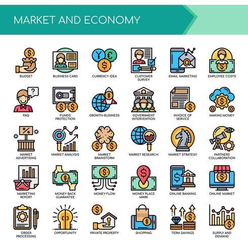 Conjunto de iconos de economía de mercado de línea fina de color vector
