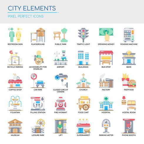 Conjunto de iconos y elementos de la ciudad de color