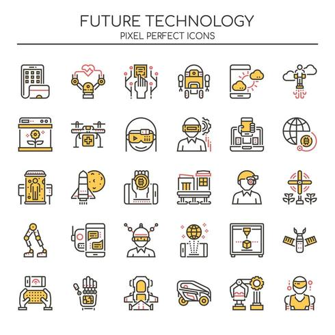 Set of Duotone Color Future Technology Icons vector