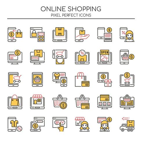 Conjunto de ícones de compras on-line de linha fina Duotone